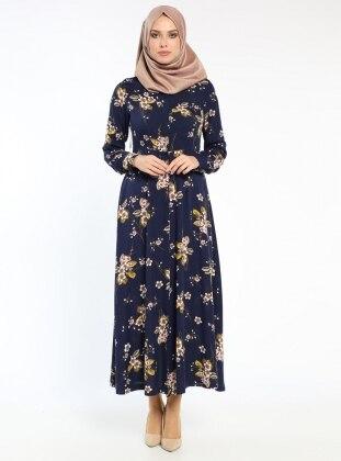 Çiçekli Elbise - Lacivert Ginezza