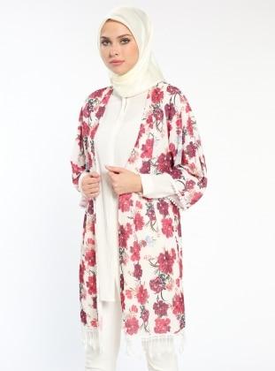 Çiçekli Kimono - Bordo Ekru