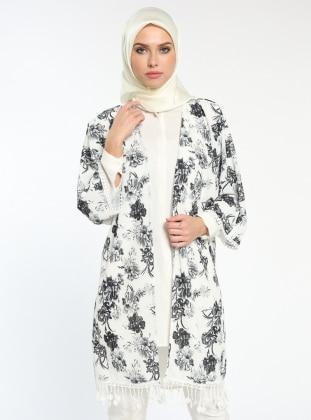 Çiçekli Kimono - Siyah Ekru