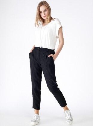 Çizgili Kumaş Pantolon - Siyah