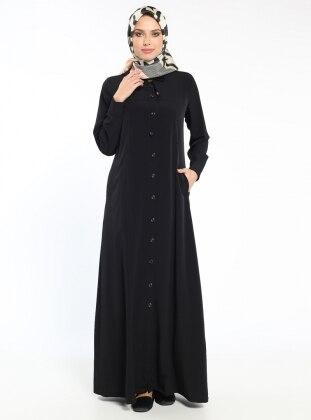 Düğmeli Ferace - Siyah