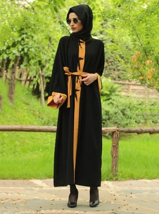Garnili Ferace - Sarı Siyah Fatma Aydın