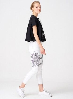 İşlemeli Pantolon - Beyaz
