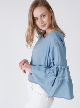 İspanyol Kol Tensel Bluz - Mavi