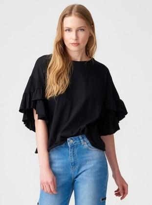 Kolları Fırfırlı Bluz - Siyah