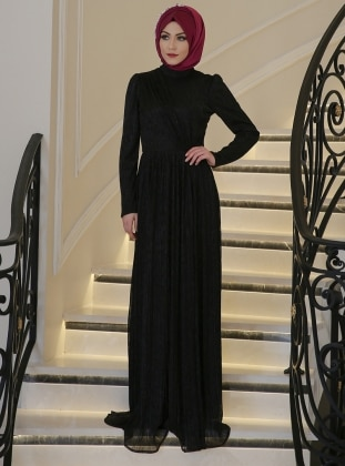Black - Fully Lined - Crew neck - Muslim Evening Dress - Minel Ask 300866