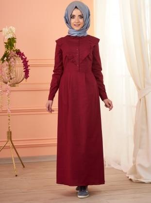 Melissa Fırfırlı Elbise - Bordo