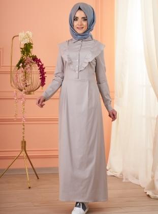 Melissa Fırfırlı Elbise - Gri