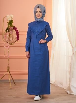 Melissa Fırfırlı Elbise - İndigo