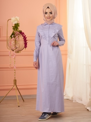 Fully Lined – Point Collar – Purple – Cotton – Dress – Mevra