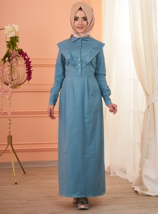Cotton – Fully Lined – Point Collar – Blue – Dress – Mevra