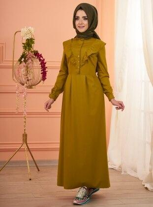 Melissa Fırfırlı Elbise - Yağ Yeşili
