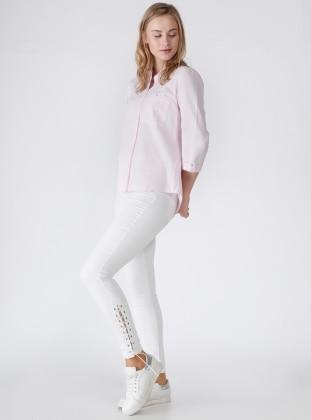 Paçası Bağlamalı Dar Paça Pantolon - Beyaz
