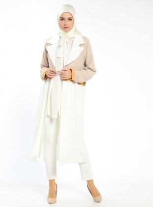 Şal Yaka Uzun Ceket - Taş Ekru