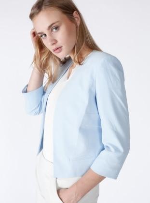 Yakasız Mini Ceket - Mavi