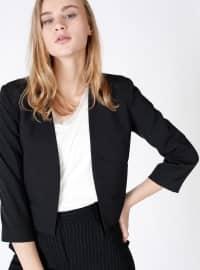 Yakasız Mini Ceket - Siyah - Dilvin
