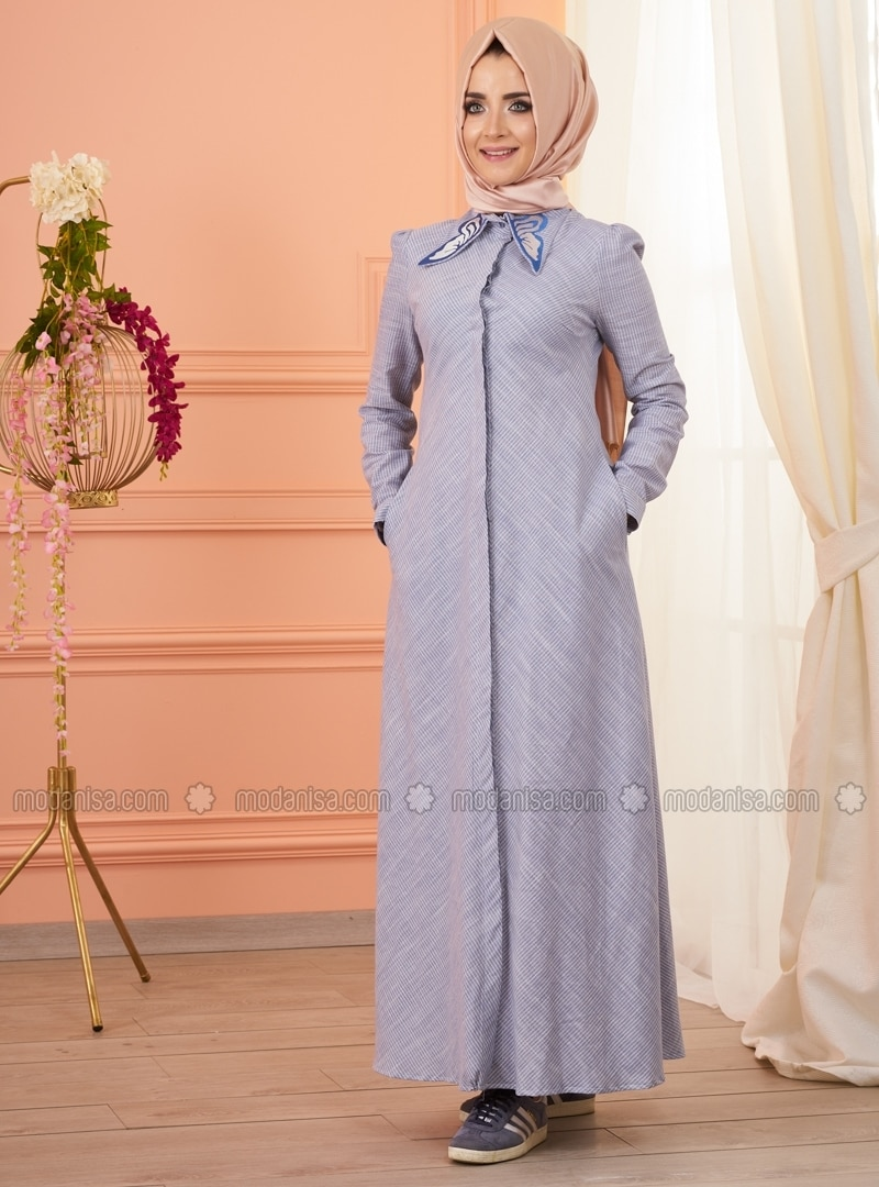 Blue - Point Collar - Fully Lined - Dress