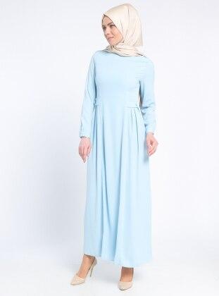 Beli Detaylı Elbise - Bebe Mavi