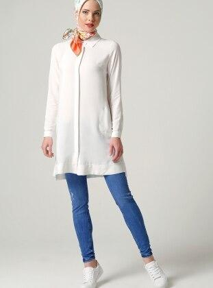 Cepli Tunik - Beyaz