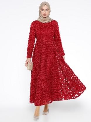 Çiçekli Abiye Elbise - Kırmızı