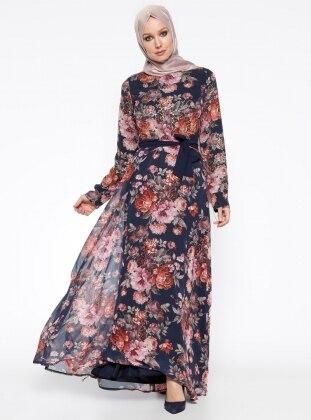 Çiçekli Elbise - Lacivert
