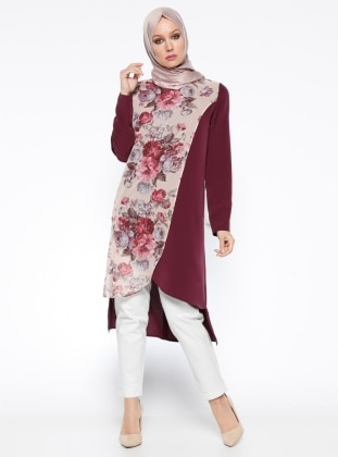 Purple - Maroon - Floral - Crew neck - Tunic
