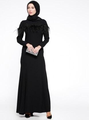 Otriş Detaylı Dantelli Abiye Elbise - Siyah