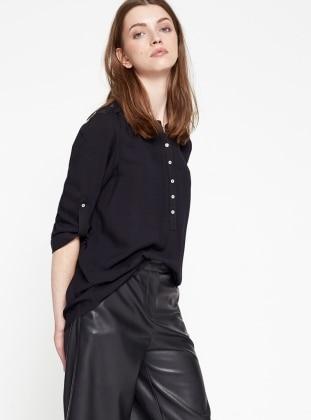 Dantel Detaylı Bluz - Siyah Koton