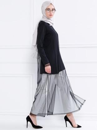 Doğal Kumaşlı İkili Tunik - Siyah