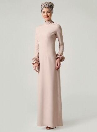 Fırfırlı Elbise - Bej