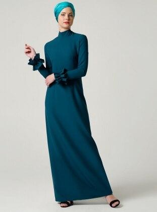 Fırfırlı Elbise - Zümrüt