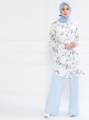 Floral Desenli Gizli Düğmeli Tunik - Beyaz