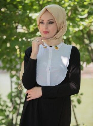 Gömlek Yaka Boyunluk - Beyaz Mirach