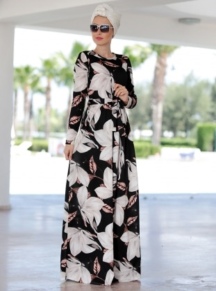 Ecru - Floral - Crew neck - Unlined - Dress - Selma Sarı Design