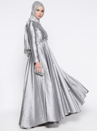 İnci Detaylı Abiye Elbise - Gri