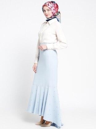 İnci Süslemeli Arkası Uzun Etek - Bebe Mavisi