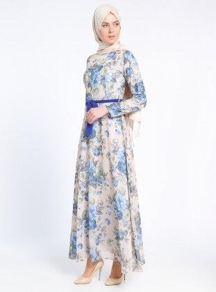Çiçekli Elbise - Saks Bej