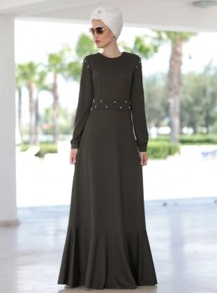 Kol Detaylı İncili Elbise- Haki