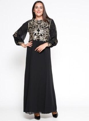 Nakışlı Abiye Elbise - Siyah