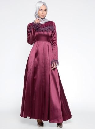 Puane Otriş Detaylı Abiye Elbise - Fuşya