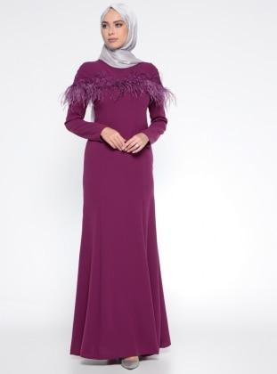 Puane Otriş Detaylı Dantelli Abiye Elbise - Fuşya