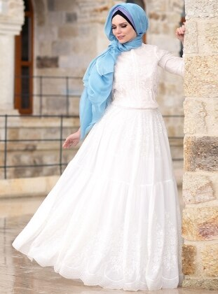 Fully Lined - White - Cotton - Skirt