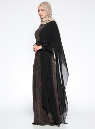 Şifon Parçalı Abiye Elbise - Gold