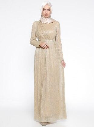 Puane Simli Abiye Elbise - Gold