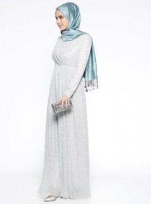 Simli Abiye Elbise - Gri