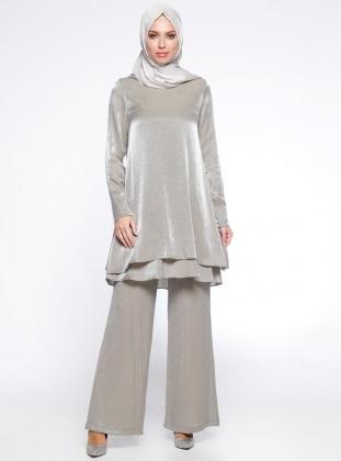 Tunik&Pantolon İkili Takım - Gümüş