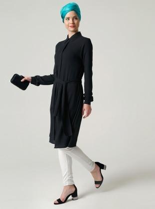 Yırtmaçlı Tunik - Siyah