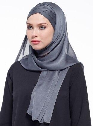 Gray - Plain - Pinless - Silk Blend - Instant Scarf