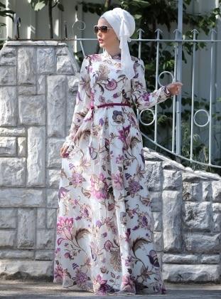 Zambak Desenli Elbise - Fuşya