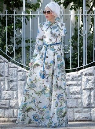 Zambak Desenli Elbise - Mavi